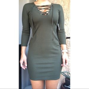 Olive green long sleeve dress with tie